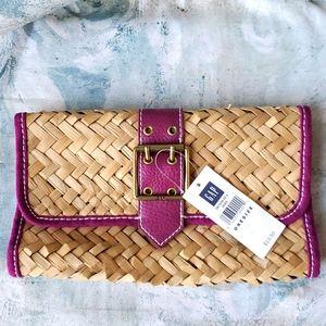 NWT! Gap Straw Purple Leather Buckle Clutch Bag